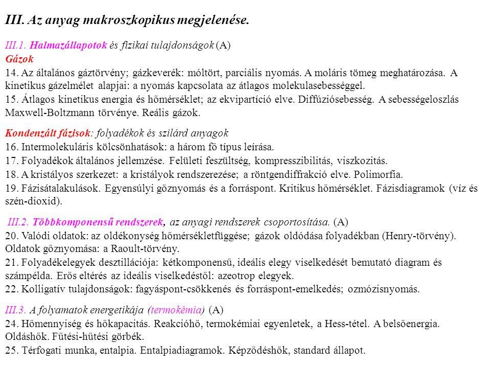 III. Az anyag makroszkopikus megjelenése. III.1. Halmazállapotok és fizikai tulajdonságok (A) Gázok 14. Az általános gáztörvény; gázkeverék: móltört,