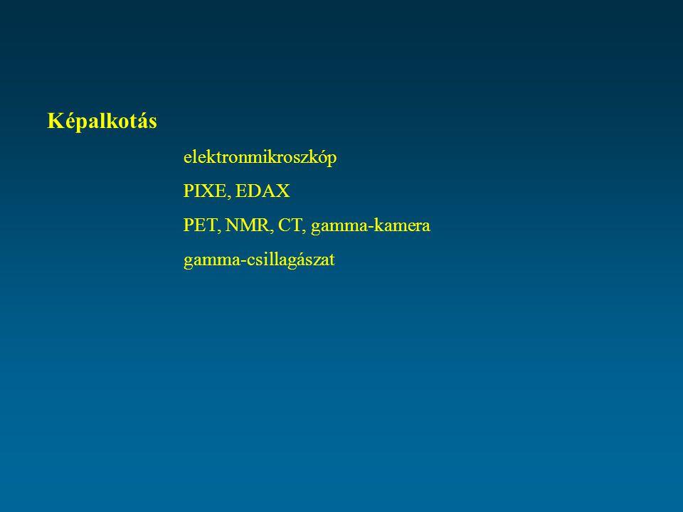 Képalkotás elektronmikroszkóp PIXE, EDAX PET, NMR, CT, gamma-kamera gamma-csillagászat