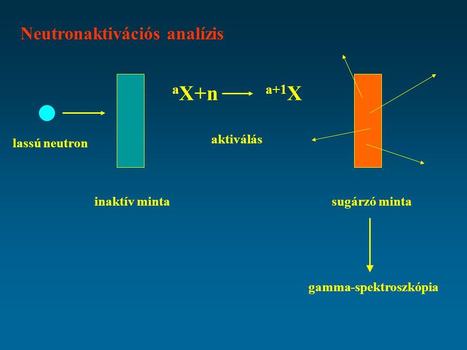 Neutronaktivációs analízis a X+n a+1 X lassú neutron inaktív minta aktiválás sugárzó minta gamma-spektroszkópia