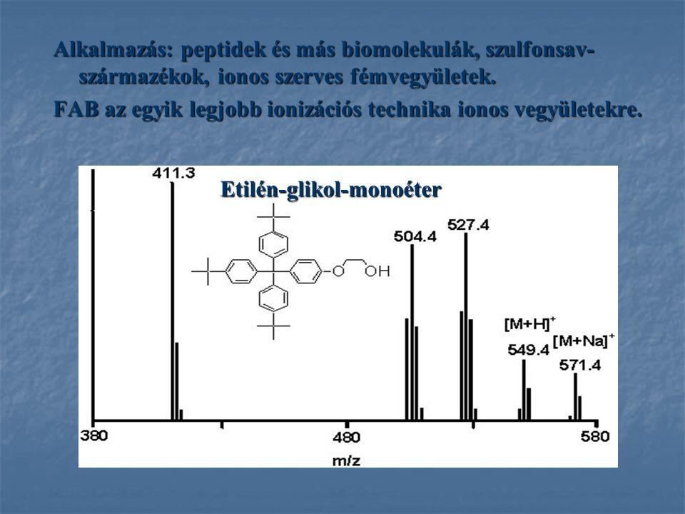 Alkalmazás: peptidek és más biomolekulák, szulfonsav- származékok, ionos szerves fémvegyületek. FAB az egyik legjobb ionizációs technika ionos vegyüle