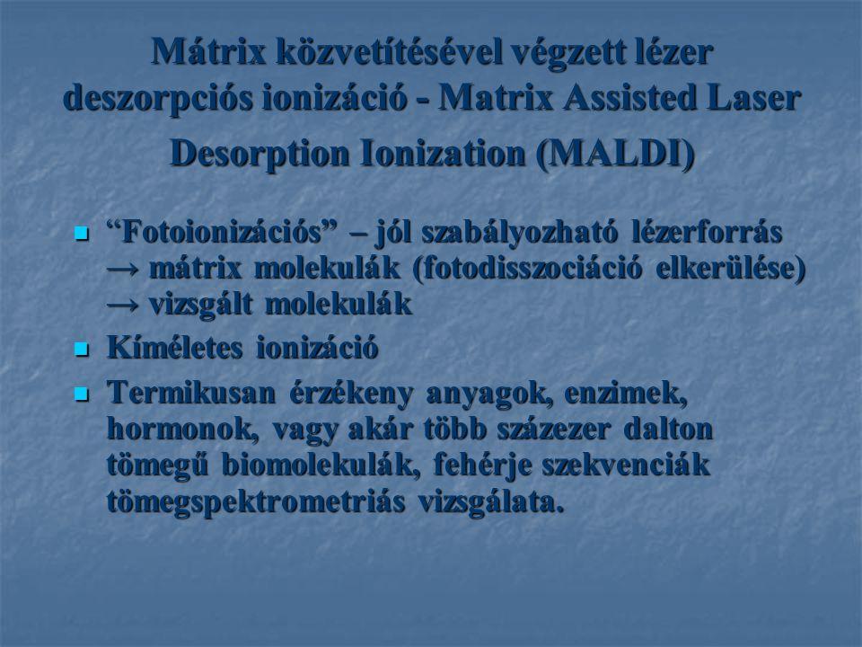 Mátrix közvetítésével végzett lézer deszorpciós ionizáció - Matrix Assisted Laser Desorption Ionization (MALDI) Fotoionizációs – jól szabályozható lézerforrás → mátrix molekulák (fotodisszociáció elkerülése) → vizsgált molekulák Fotoionizációs – jól szabályozható lézerforrás → mátrix molekulák (fotodisszociáció elkerülése) → vizsgált molekulák Kíméletes ionizáció Kíméletes ionizáció Termikusan érzékeny anyagok, enzimek, hormonok, vagy akár több százezer dalton tömegű biomolekulák, fehérje szekvenciák tömegspektrometriás vizsgálata.