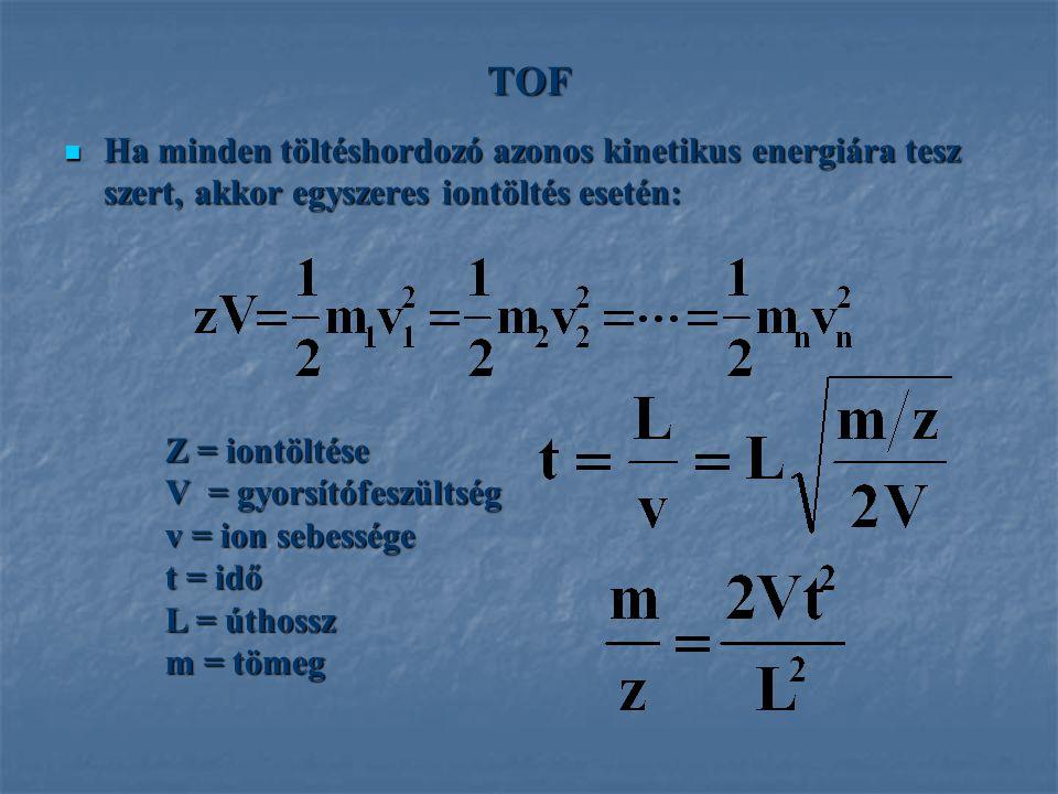 TOF Ha minden töltéshordozó azonos kinetikus energiára tesz szert, akkor egyszeres iontöltés esetén: Ha minden töltéshordozó azonos kinetikus energiár
