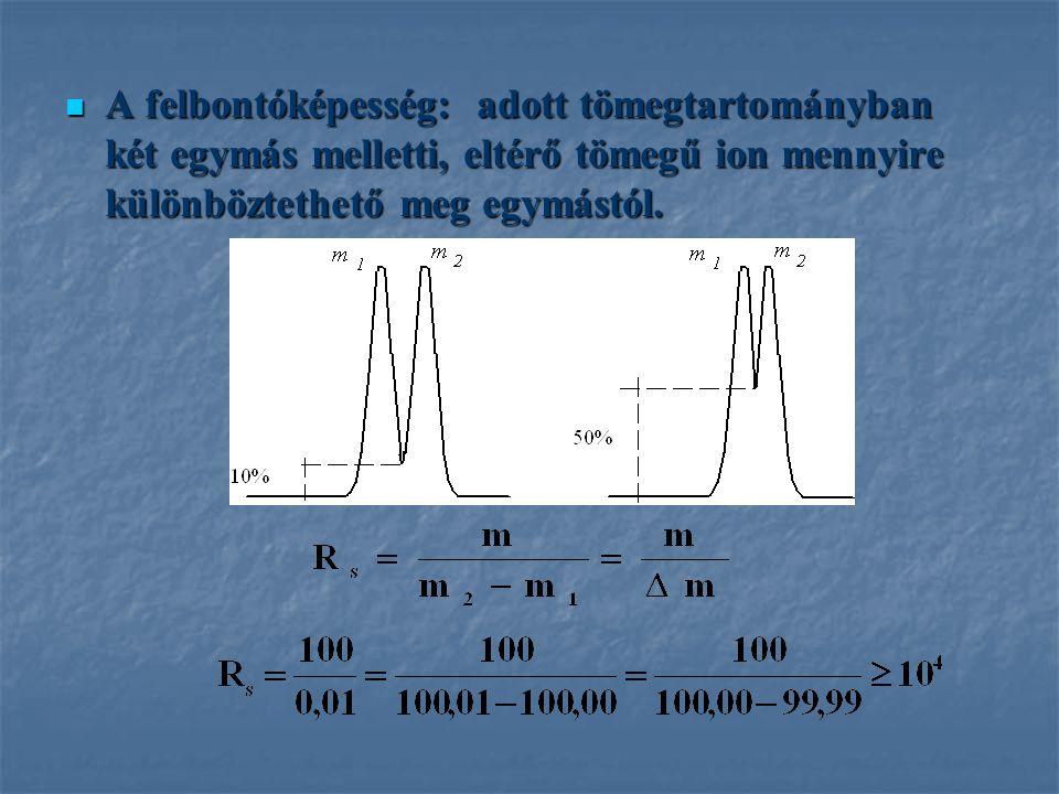 A felbontóképesség: adott tömegtartományban két egymás melletti, eltérő tömegű ion mennyire különböztethető meg egymástól. A felbontóképesség: adott t