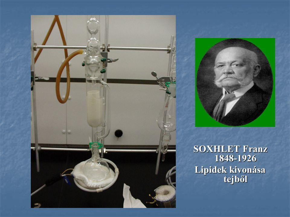 SOXHLET Franz 1848-1926 Lipidek kivonása tejből