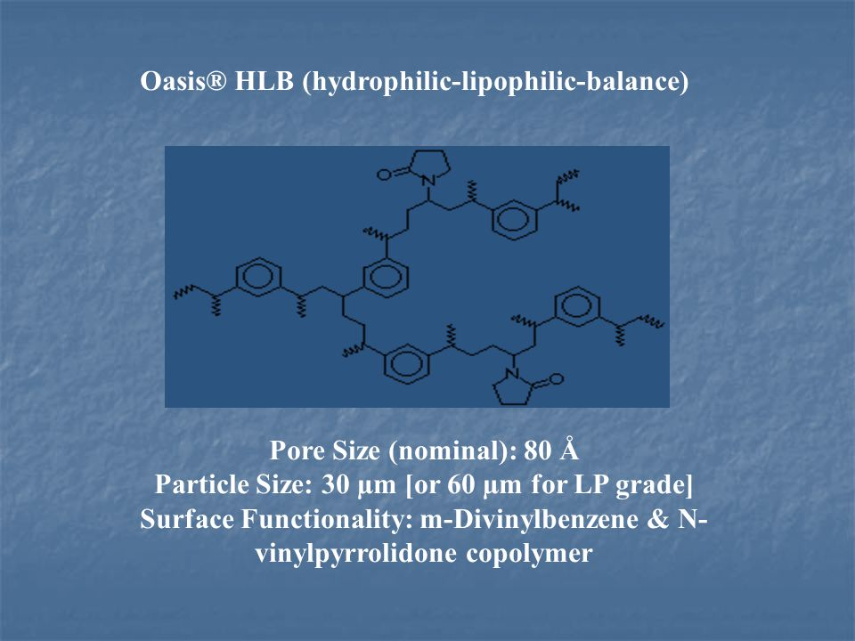 Pore Size (nominal): 80 Å Particle Size: 30 µm [or 60 µm for LP grade] Surface Functionality: m-Divinylbenzene & N- vinylpyrrolidone copolymer Oasis®