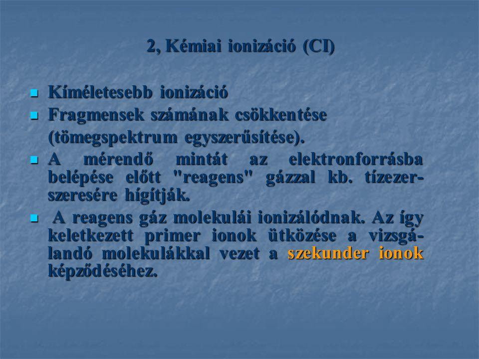 2, Kémiai ionizáció (CI) Kíméletesebb ionizáció Kíméletesebb ionizáció Fragmensek számának csökkentése Fragmensek számának csökkentése (tömegspektrum