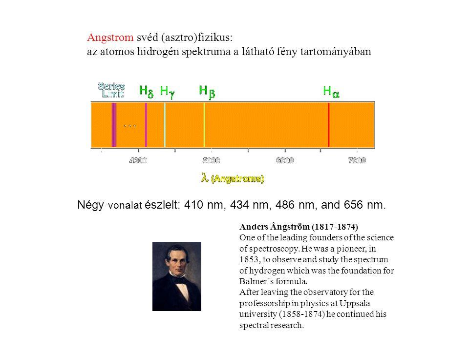 Angstrom svéd (asztro)fizikus: az atomos hidrogén spektruma a látható fény tartományában Négy vonalat észlelt: 410 nm, 434 nm, 486 nm, and 656 nm.