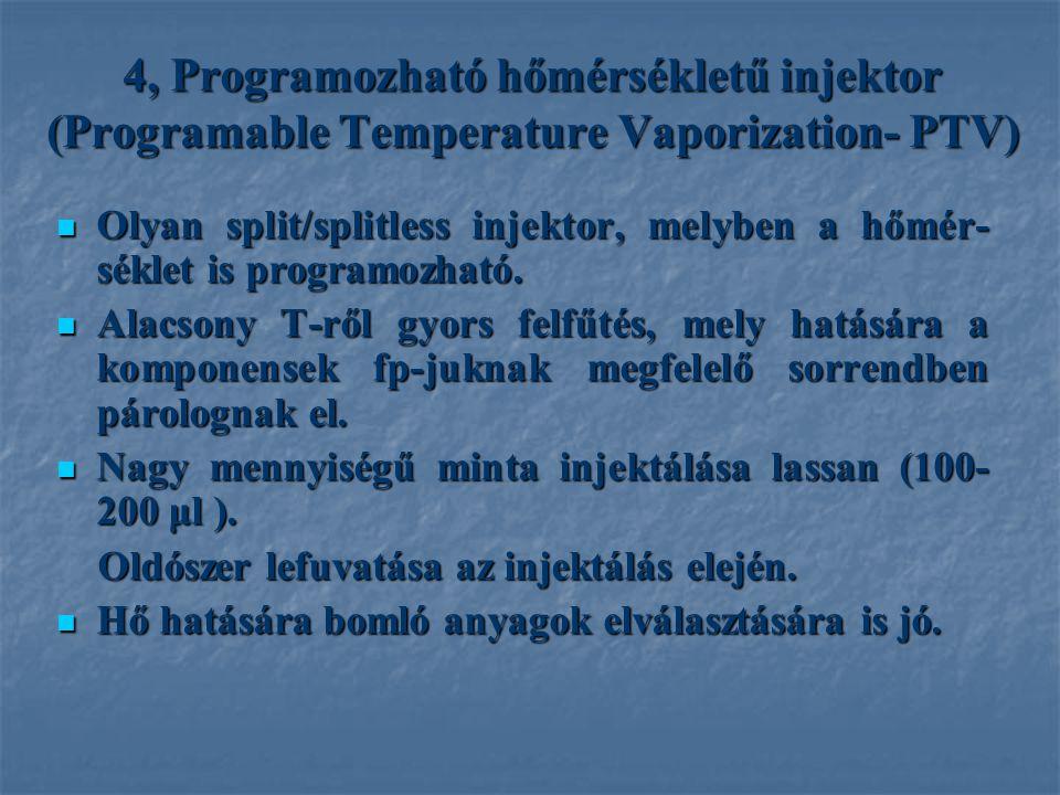4, Programozható hőmérsékletű injektor (Programable Temperature Vaporization- PTV) Olyan split/splitless injektor, melyben a hőmér- séklet is programozható.