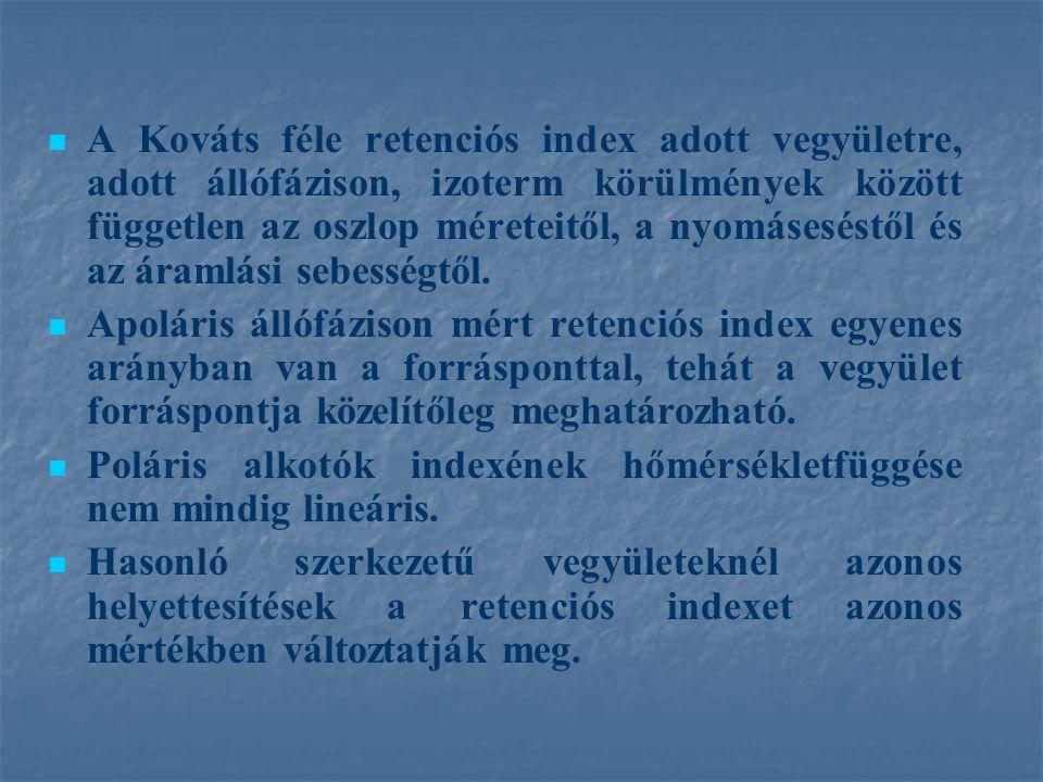 A Kováts féle retenciós index adott vegyületre, adott állófázison, izoterm körülmények között független az oszlop méreteitől, a nyomáseséstől és az ár