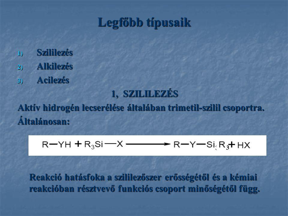 Legfőbb típusaik 1) Szililezés 2) Alkilezés 3) Acilezés 1, SZILILEZÉS 1, SZILILEZÉS Aktív hidrogén lecserélése általában trimetil-szilil csoportra. Ál