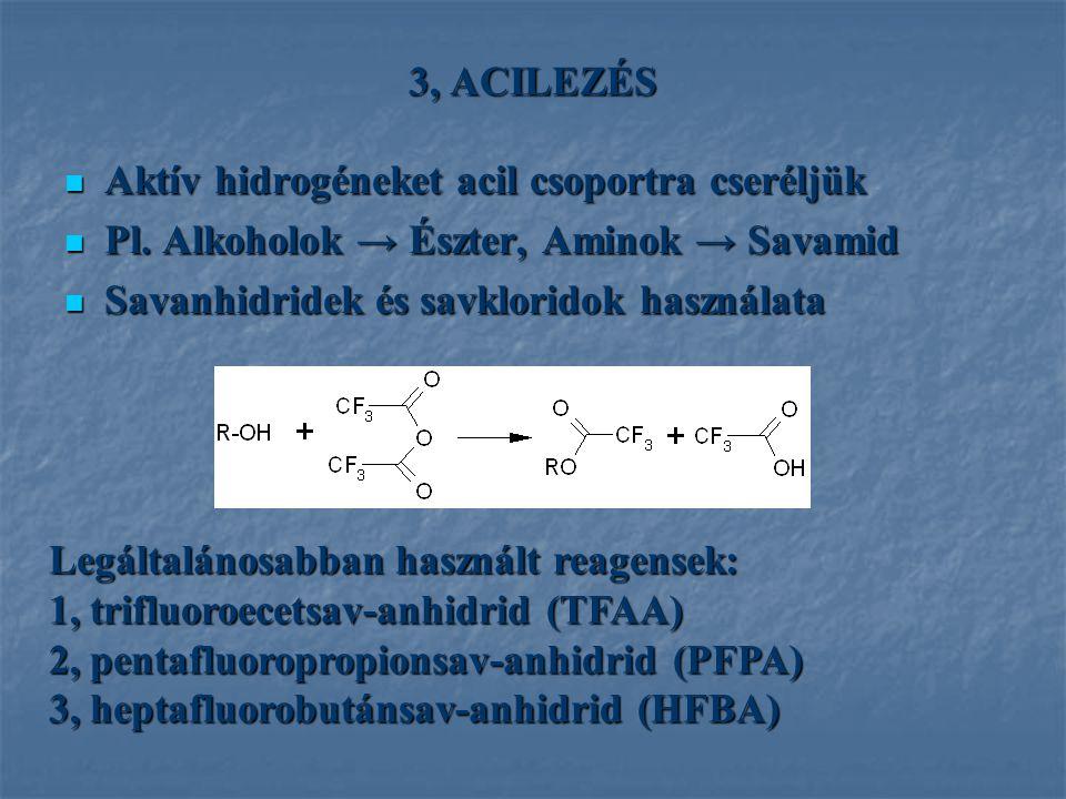 3, ACILEZÉS Aktív hidrogéneket acil csoportra cseréljük Aktív hidrogéneket acil csoportra cseréljük Pl. Alkoholok → Észter, Aminok → Savamid Pl. Alkoh