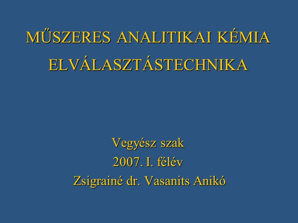 MŰSZERES ANALITIKAI KÉMIA ELVÁLASZTÁSTECHNIKA Vegyész szak 2007. I. félév Zsigrainé dr. Vasanits Anikó Zsigrainé dr. Vasanits Anikó