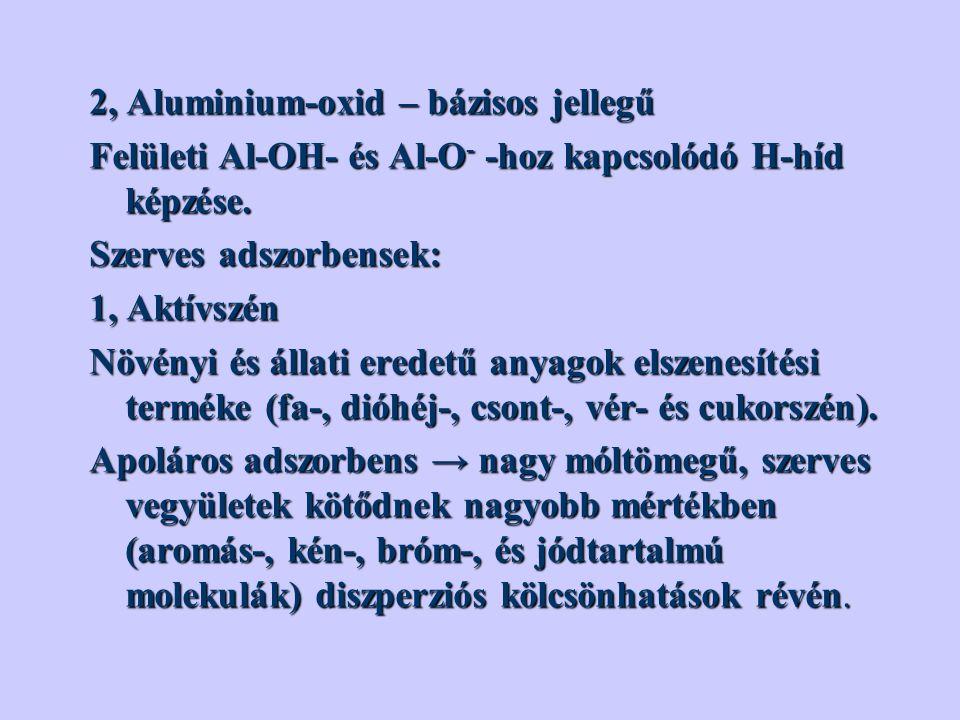 2, Aluminium-oxid – bázisos jellegű Felületi Al-OH- és Al-O - -hoz kapcsolódó H-híd képzése.