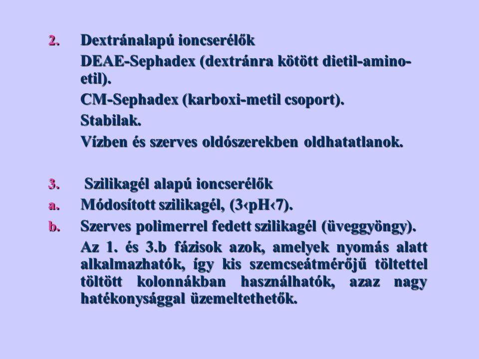 2. Dextránalapú ioncserélők DEAE-Sephadex (dextránra kötött dietil-amino- etil). DEAE-Sephadex (dextránra kötött dietil-amino- etil). CM-Sephadex (kar