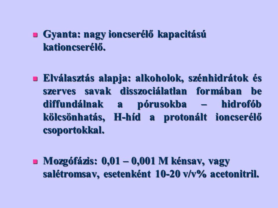 Gyanta: nagy ioncserélő kapacitású kationcserélő. Gyanta: nagy ioncserélő kapacitású kationcserélő. Elválasztás alapja: alkoholok, szénhidrátok és sze