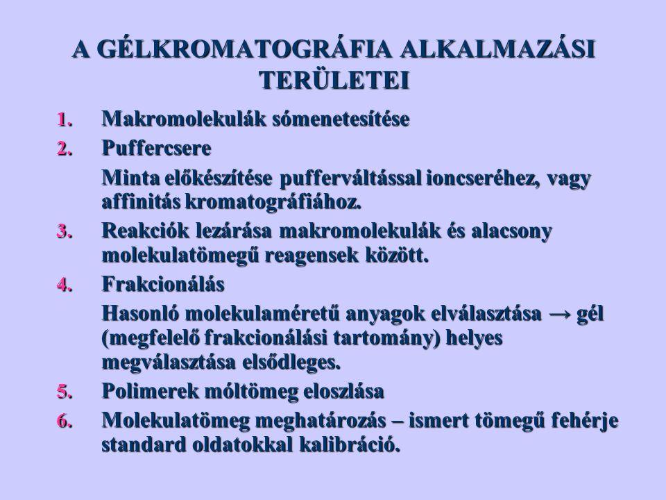 A GÉLKROMATOGRÁFIA ALKALMAZÁSI TERÜLETEI 1.Makromolekulák sómenetesítése 2.