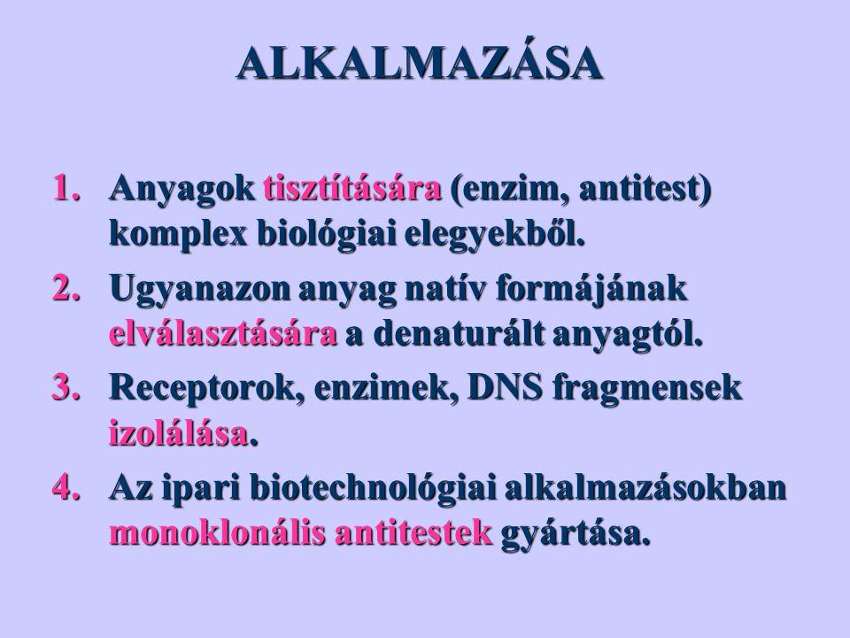 ALKALMAZÁSA 1.Anyagok tisztítására (enzim, antitest) komplex biológiai elegyekből. 2.Ugyanazon anyag natív formájának elválasztására a denaturált anya