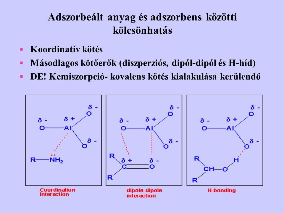 Adszorbeált anyag és adszorbens közötti kölcsönhatás  Koordinatív kötés  Másodlagos kötőerők (diszperziós, dipól-dipól és H-híd)  DE! Kemiszorpció-