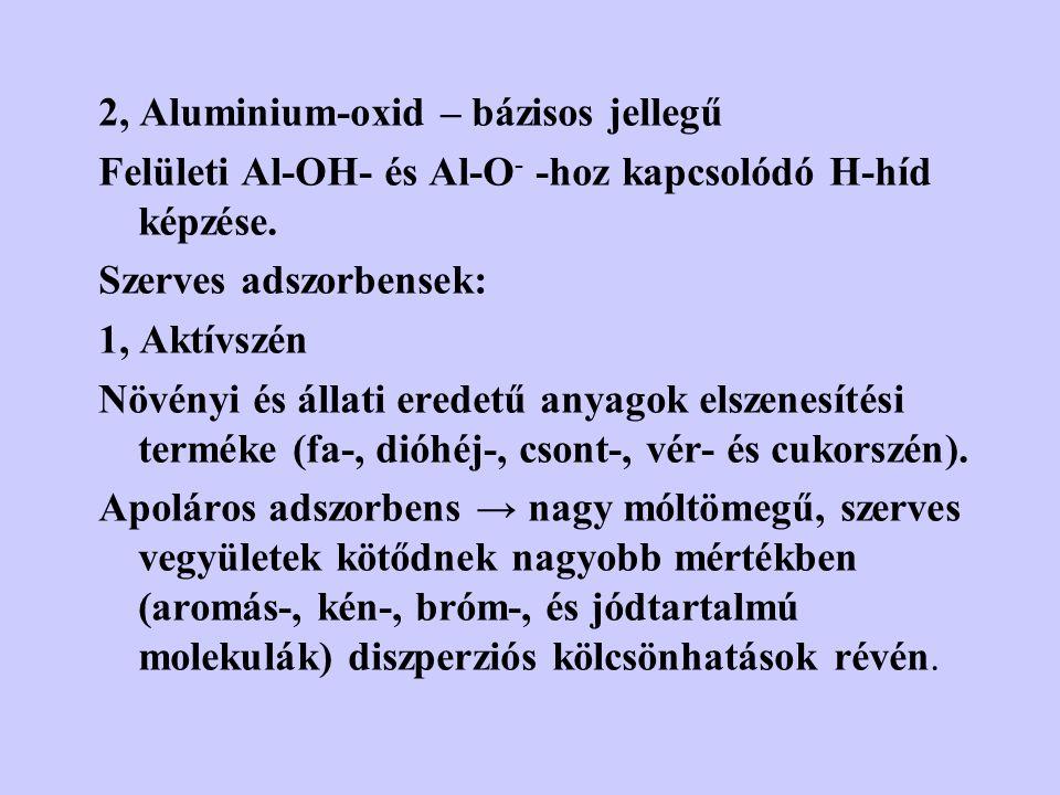 2, Aluminium-oxid – bázisos jellegű Felületi Al-OH- és Al-O - -hoz kapcsolódó H-híd képzése. Szerves adszorbensek: 1, Aktívszén Növényi és állati ered
