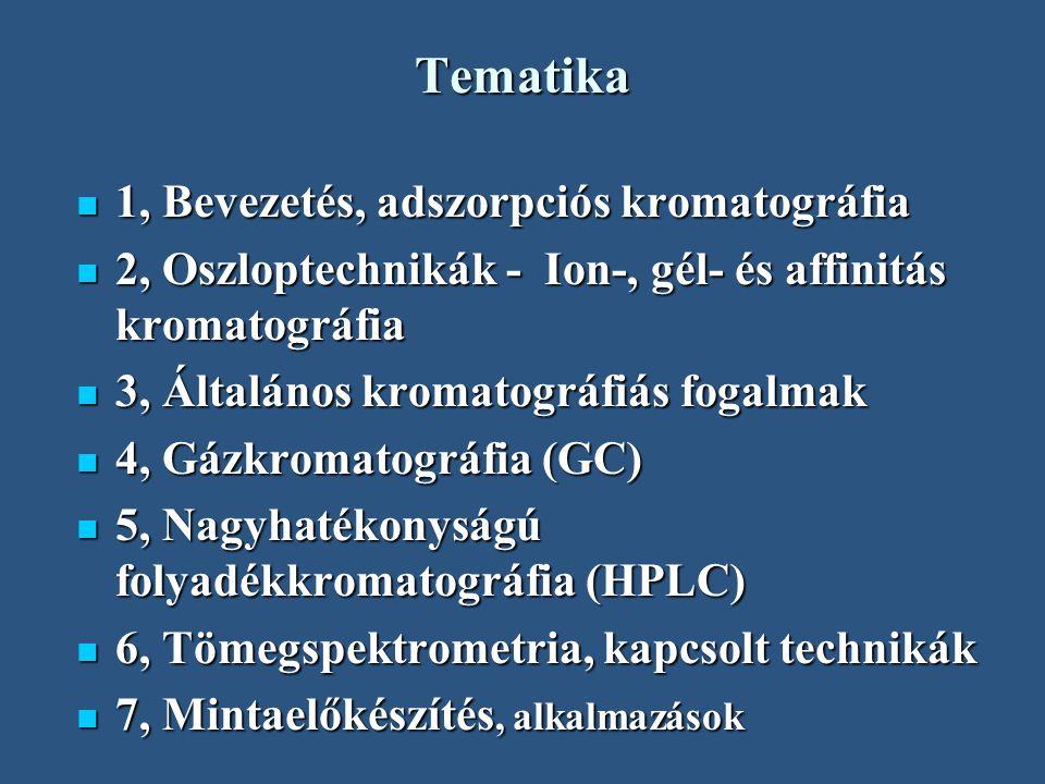 Tematika 1, Bevezetés, adszorpciós kromatográfia 1, Bevezetés, adszorpciós kromatográfia 2, Oszloptechnikák - Ion-, gél- és affinitás kromatográfia 2,