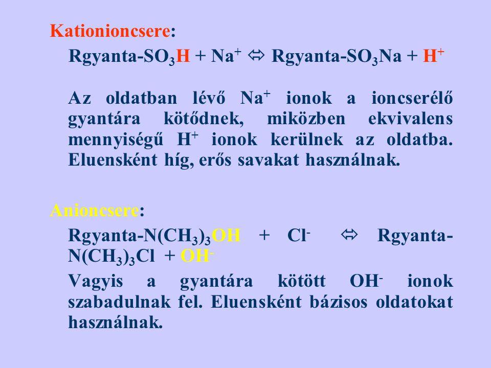 Kationioncsere: Rgyanta-SO 3 H + Na +  Rgyanta-SO 3 Na + H + Az oldatban lévő Na + ionok a ioncserélő gyantára kötődnek, miközben ekvivalens mennyisé