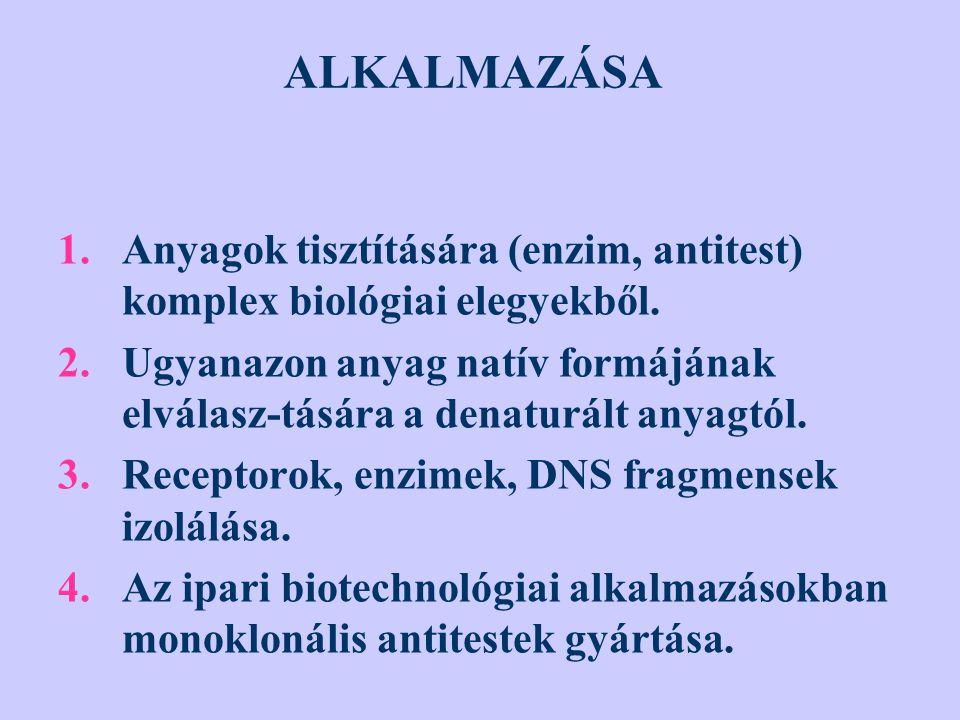 ALKALMAZÁSA 1.Anyagok tisztítására (enzim, antitest) komplex biológiai elegyekből. 2.Ugyanazon anyag natív formájának elválasz-tására a denaturált any