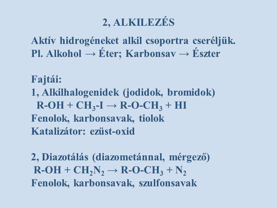 2, ALKILEZÉS Aktív hidrogéneket alkil csoportra cseréljük. Pl. Alkohol → Éter; Karbonsav → Észter Fajtái: 1, Alkilhalogenidek (jodidok, bromidok) R-OH