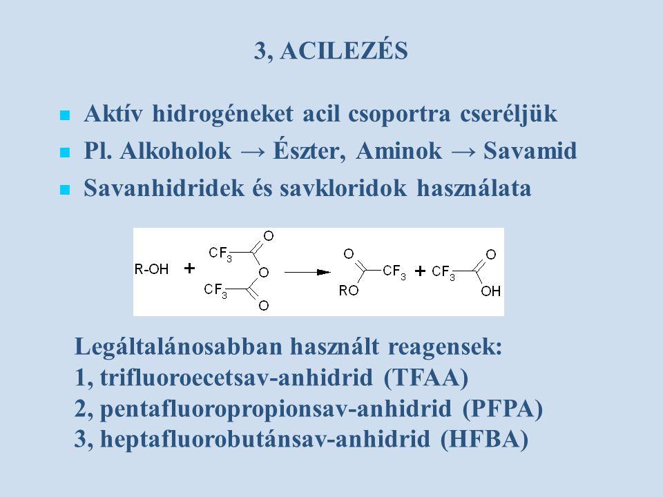 3, ACILEZÉS Aktív hidrogéneket acil csoportra cseréljük Pl. Alkoholok → Észter, Aminok → Savamid Savanhidridek és savkloridok használata Legáltalánosa