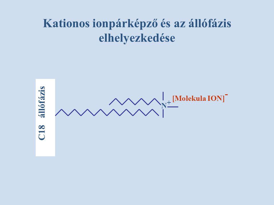 Kationos ionpárképző és az állófázis elhelyezkedése C18 állófázis N+N+ [Molekula ION] -