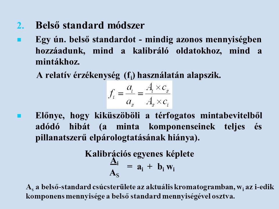2. 2. Belső standard módszer Egy ún. belső standardot - mindig azonos mennyiségben hozzáadunk, mind a kalibráló oldatokhoz, mind a mintákhoz. A relatí