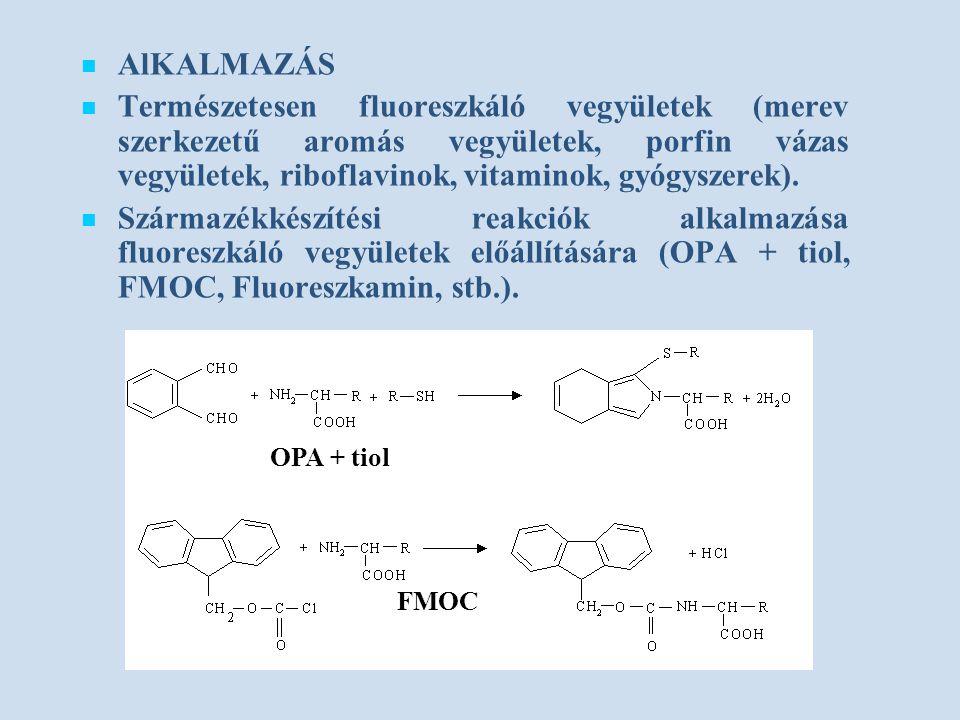 AlKALMAZÁS Természetesen fluoreszkáló vegyületek (merev szerkezetű aromás vegyületek, porfin vázas vegyületek, riboflavinok, vitaminok, gyógyszerek).