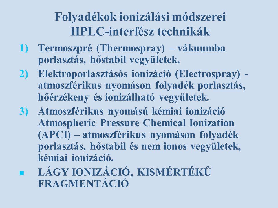 Folyadékok ionizálási módszerei HPLC-interfész technikák 1) 1)Termoszpré (Thermospray) – vákuumba porlasztás, hőstabil vegyületek. 2) 2)Elektroporlasz