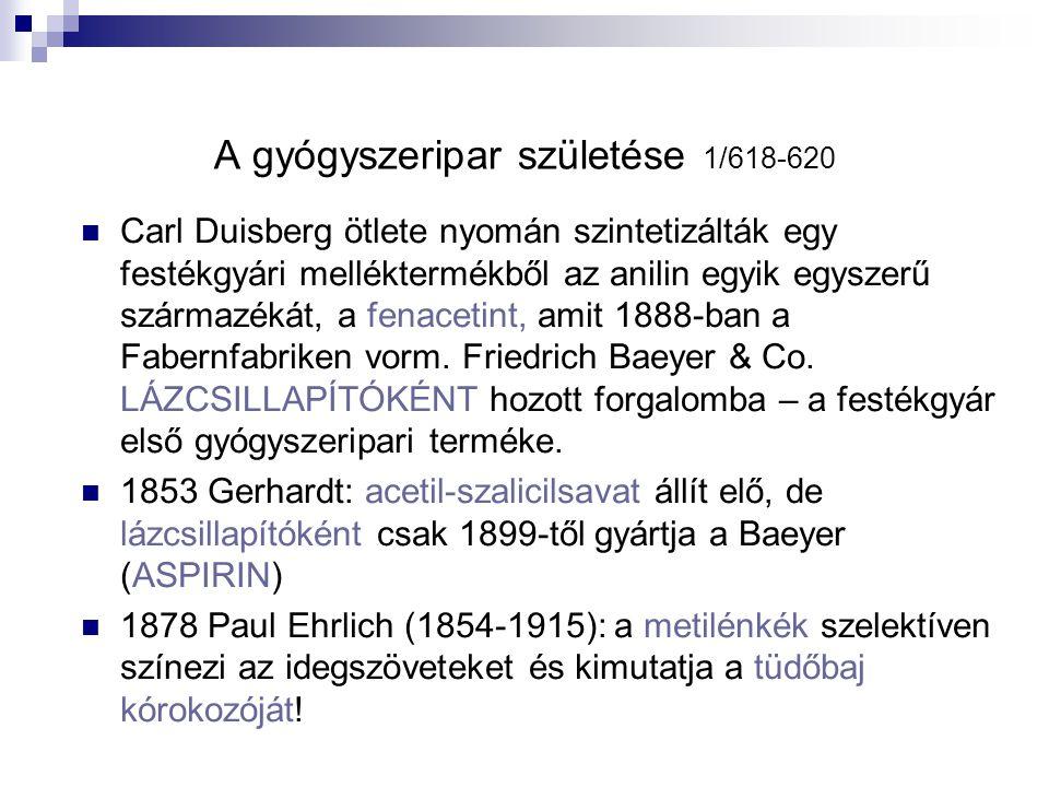 A gyógyszeripar születése 1/618-620 Carl Duisberg ötlete nyomán szintetizálták egy festékgyári melléktermékből az anilin egyik egyszerű származékát, a fenacetint, amit 1888-ban a Fabernfabriken vorm.