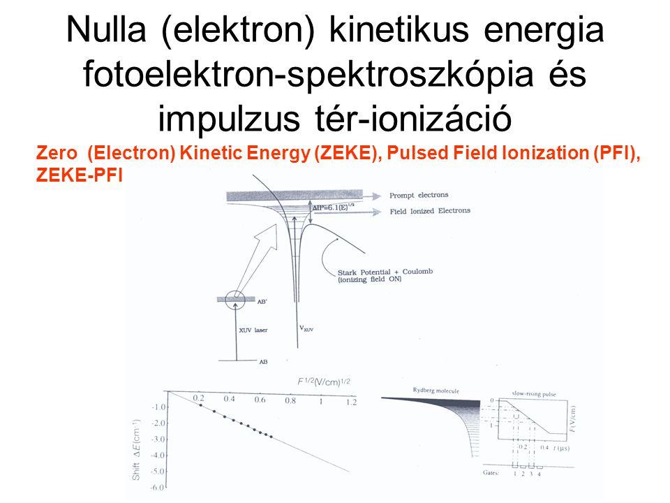 Tömeganalizált küszöbionizáció Mass Analyzed Threshold Ionization (MATI) A ZEKE elve, de nem az elektronokat, hanem az ionokat detektálva ↓ 1+1' MATI tömeg- és energiaszelekció is ↓ disszociációs energia mérése