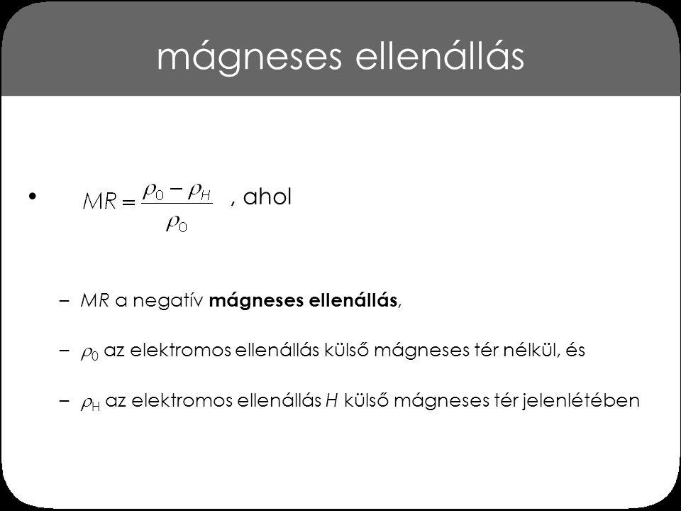 mágneses ellenállás, ahol –MR a negatív mágneses ellenállás, –  0 az elektromos ellenállás külső mágneses tér nélkül, és –  H az elektromos ellenállás H külső mágneses tér jelenlétében