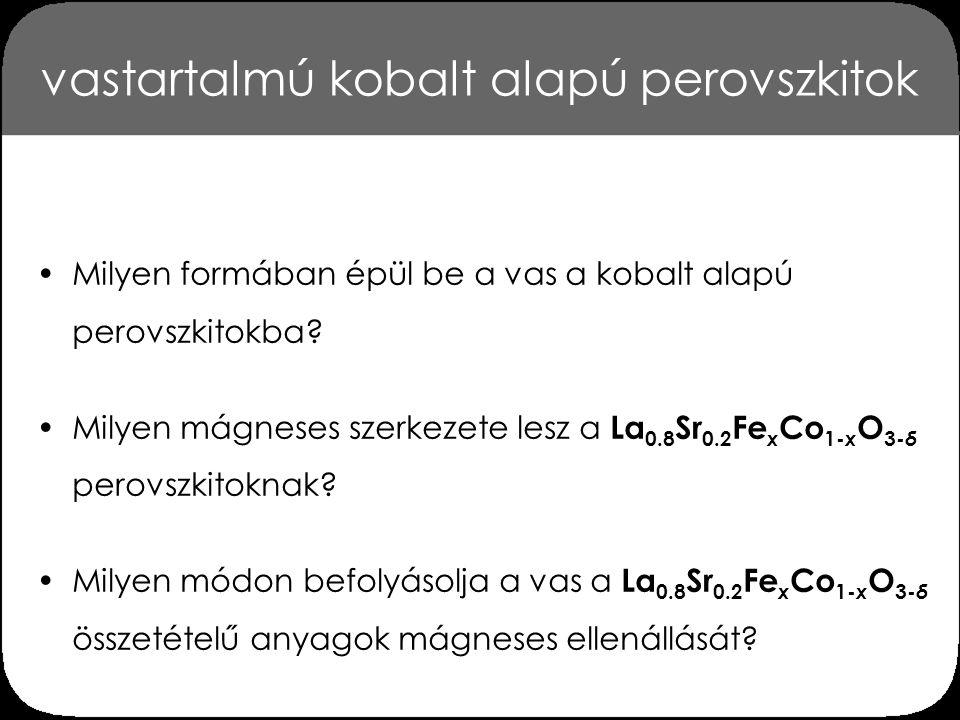 vastartalmú kobalt alapú perovszkitok Milyen formában épül be a vas a kobalt alapú perovszkitokba? Milyen mágneses szerkezete lesz a La 0.8 Sr 0.2 Fe