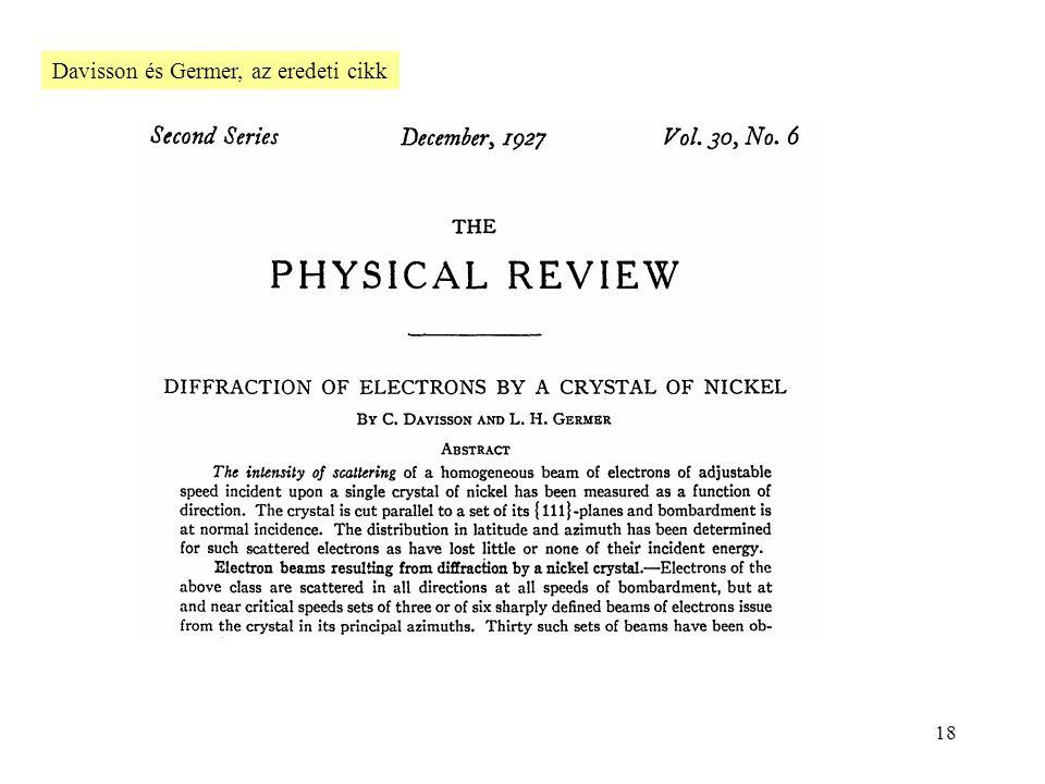 18 Davisson és Germer, az eredeti cikk