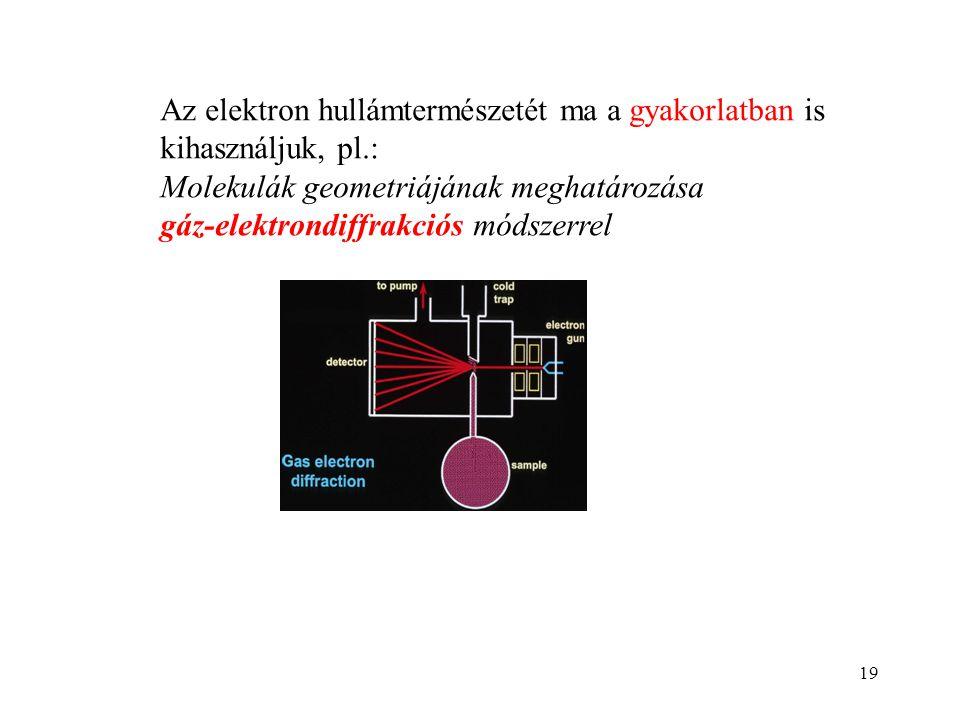 19 Az elektron hullámtermészetét ma a gyakorlatban is kihasználjuk, pl.: Molekulák geometriájának meghatározása gáz-elektrondiffrakciós módszerrel