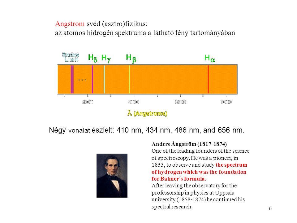 6 Angstrom svéd (asztro)fizikus: az atomos hidrogén spektruma a látható fény tartományában Négy vonalat észlelt: 410 nm, 434 nm, 486 nm, and 656 nm. A