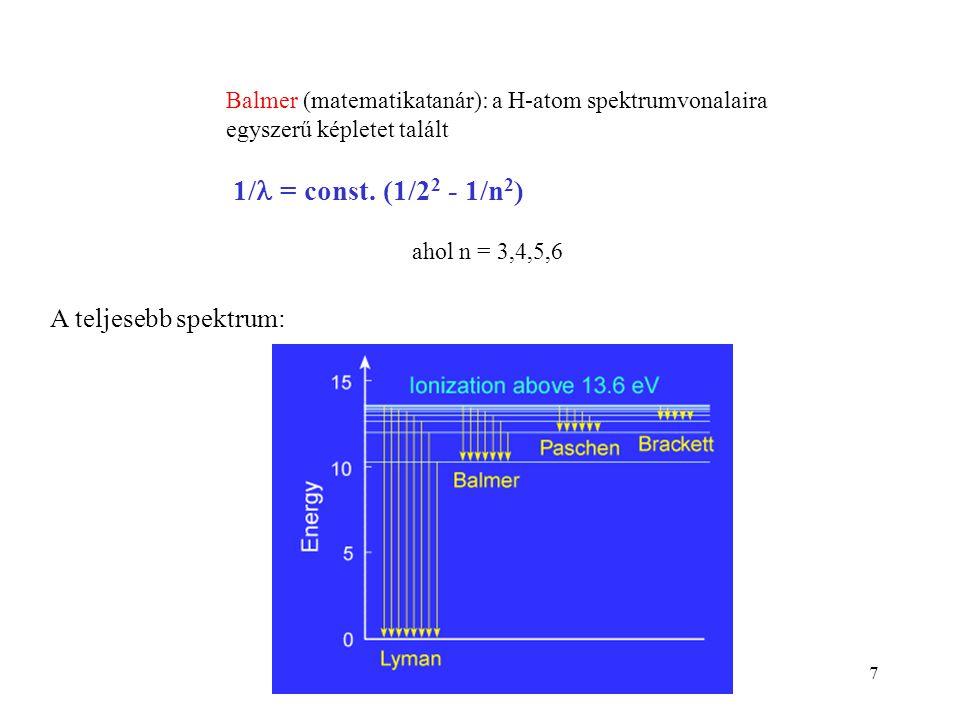 7 Balmer (matematikatanár): a H-atom spektrumvonalaira egyszerű képletet talált 1/ = const. (1/2 2 - 1/n 2 ) ahol n = 3,4,5,6 A teljesebb spektrum: