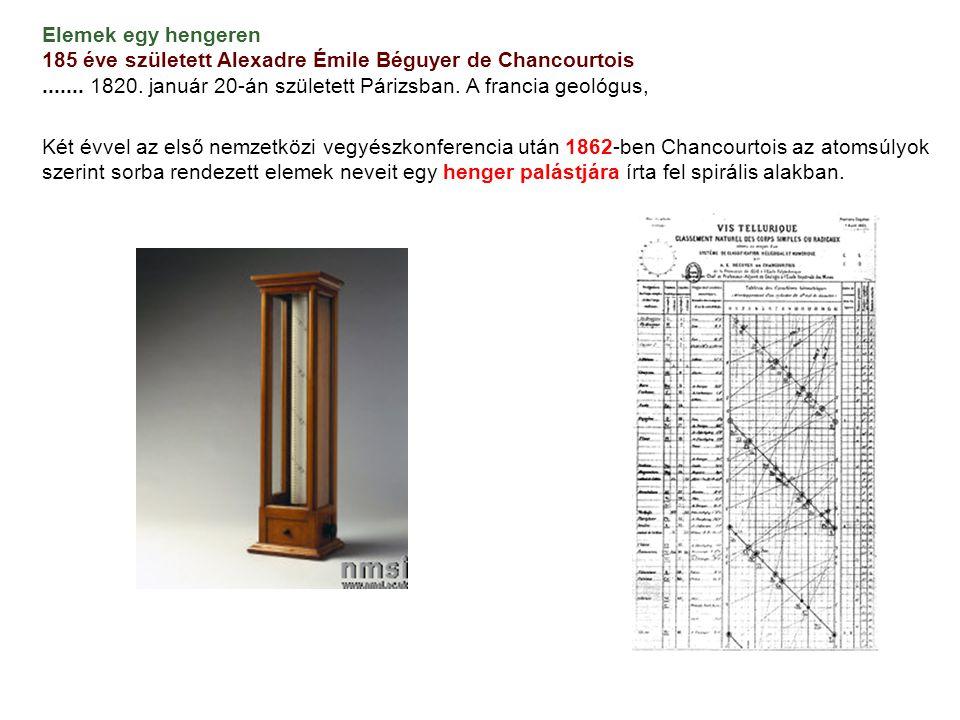 Elemek egy hengeren 185 éve született Alexadre Émile Béguyer de Chancourtois.......