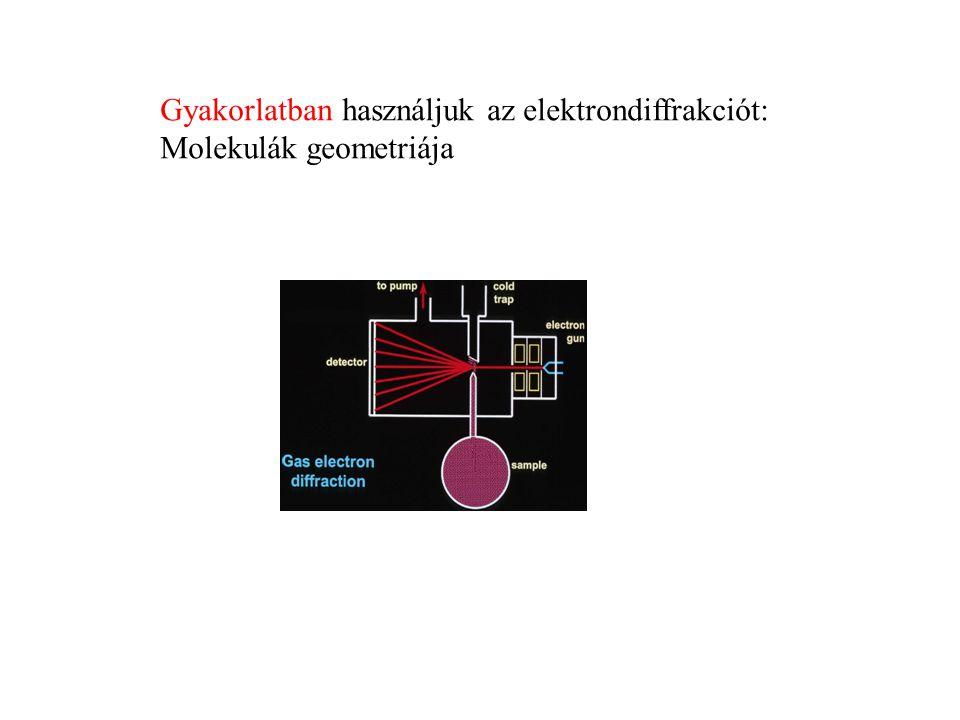 Gyakorlatban használjuk az elektrondiffrakciót: Molekulák geometriája