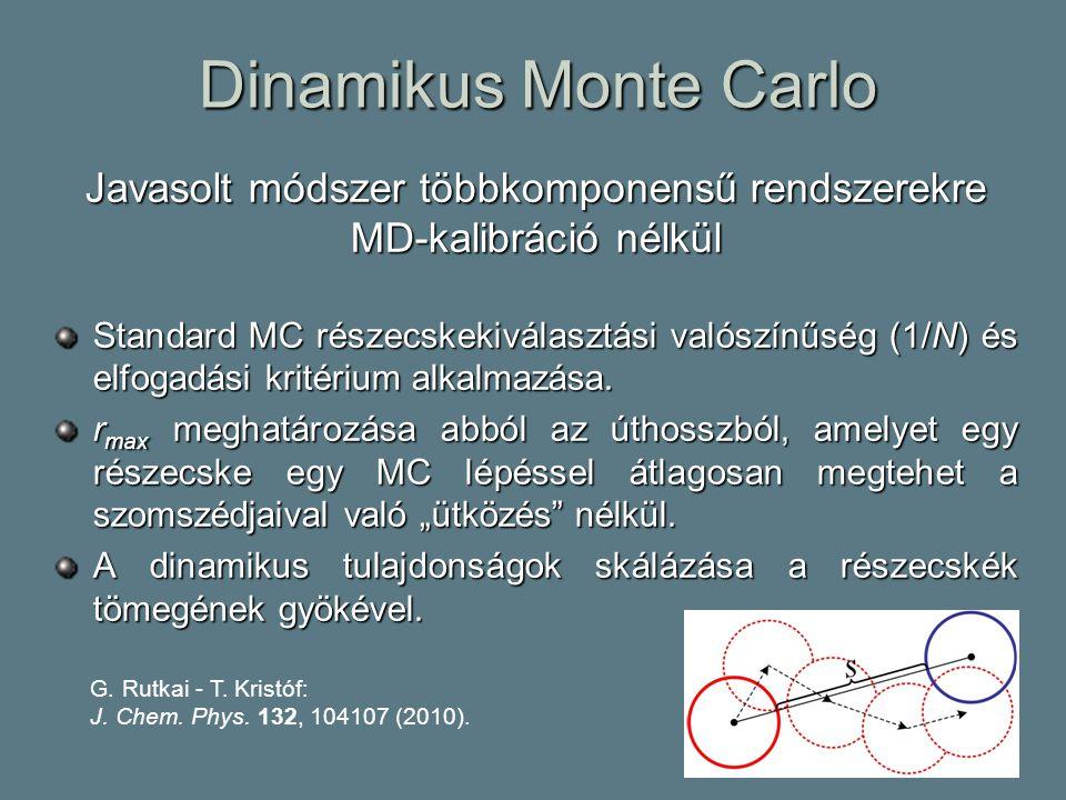 Dinamikus Monte Carlo Javasolt módszer többkomponensű rendszerekre MD-kalibráció nélkül Standard MC részecskekiválasztási valószínűség (1/N) és elfogadási kritérium alkalmazása.