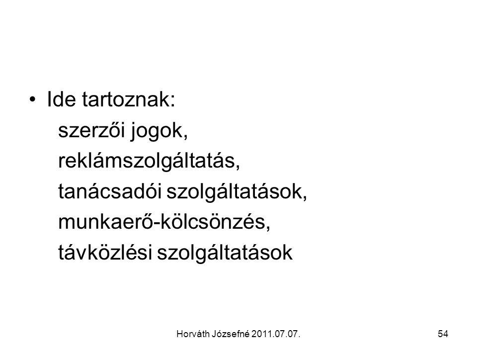 Horváth Józsefné 2011.07.07.54 Ide tartoznak: szerzői jogok, reklámszolgáltatás, tanácsadói szolgáltatások, munkaerő-kölcsönzés, távközlési szolgáltatások
