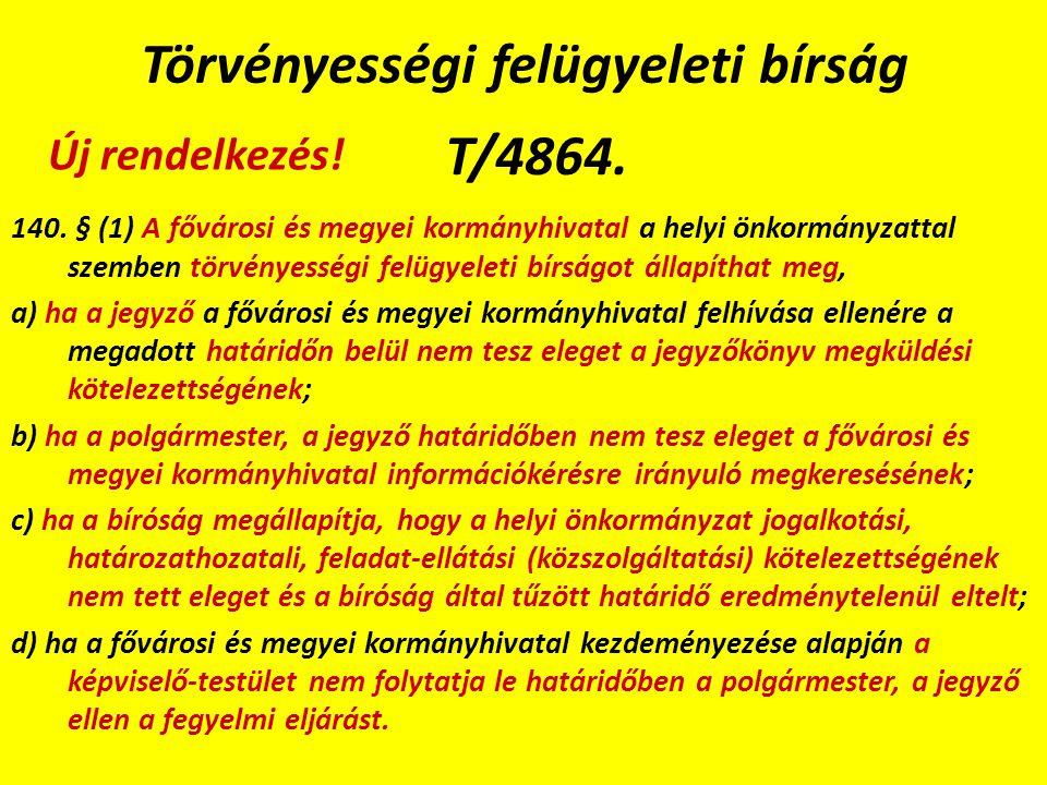 Törvényességi felügyeleti bírság T/4864. 140.