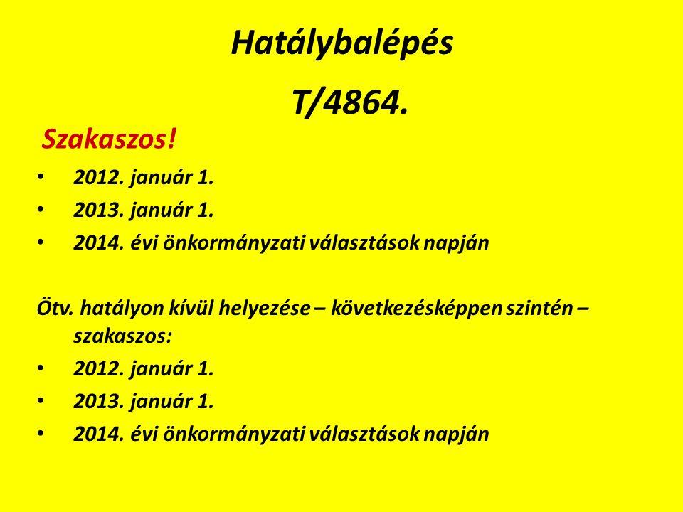 Hatálybalépés T/4864. 2012. január 1. 2013. január 1.