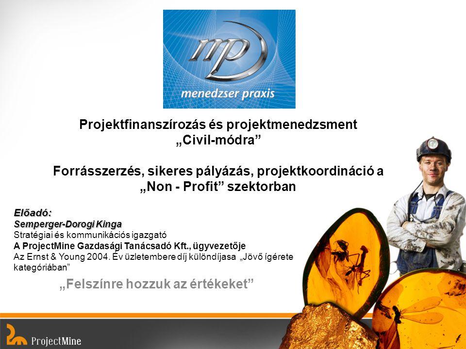"""""""Felszínre hozzuk az értékeket"""" Előadó: Semperger-Dorogi Kinga Előadó: Semperger-Dorogi Kinga Stratégiai és kommunikációs igazgató A ProjectMine Gazda"""