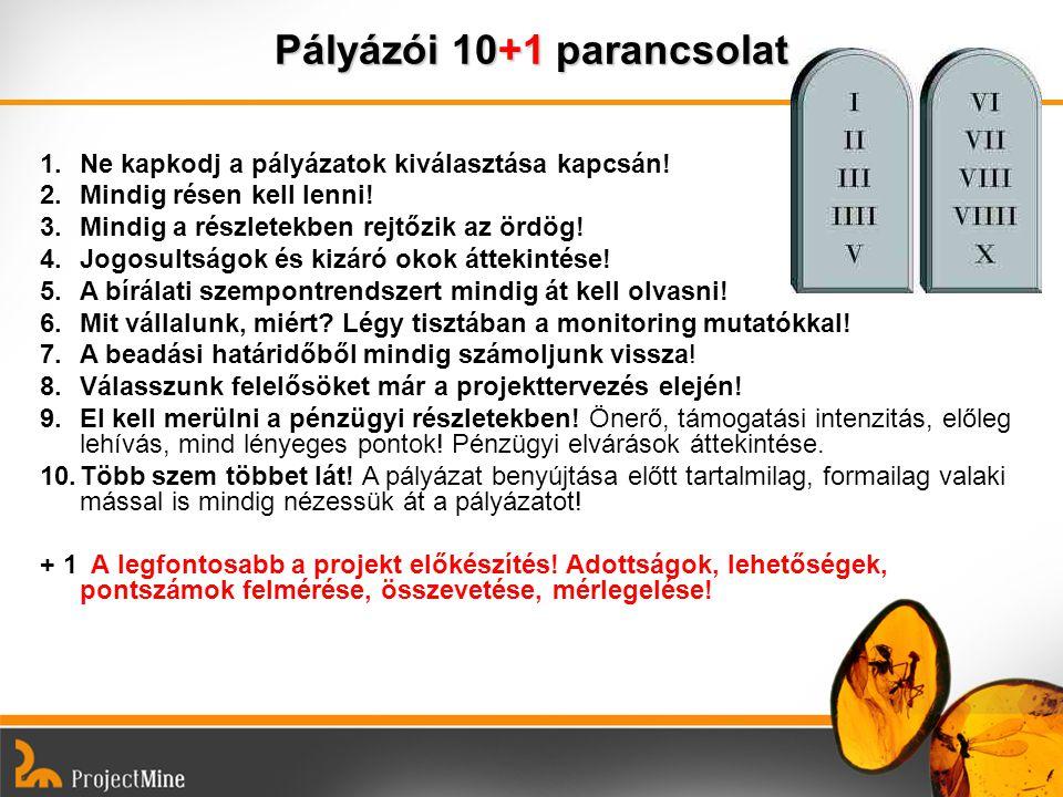 Pályázói 10+1 parancsolat 1.Ne kapkodj a pályázatok kiválasztása kapcsán! 2.Mindig résen kell lenni! 3.Mindig a részletekben rejtőzik az ördög! 4.Jogo