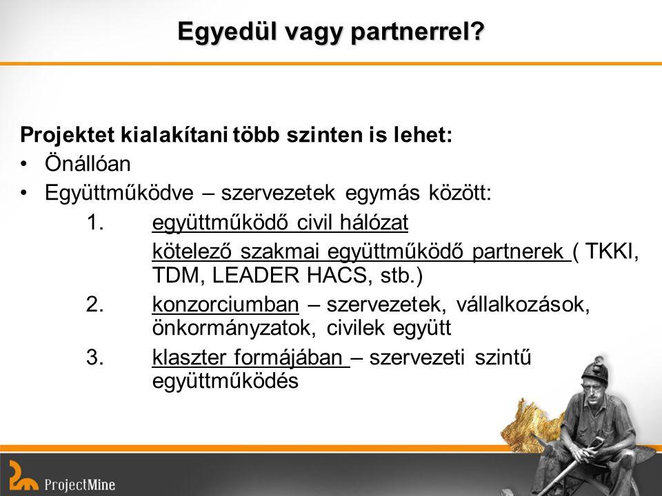 Egyedül vagy partnerrel? Projektet kialakítani több szinten is lehet: Önállóan Együttműködve – szervezetek egymás között: 1. együttműködő civil hálóza