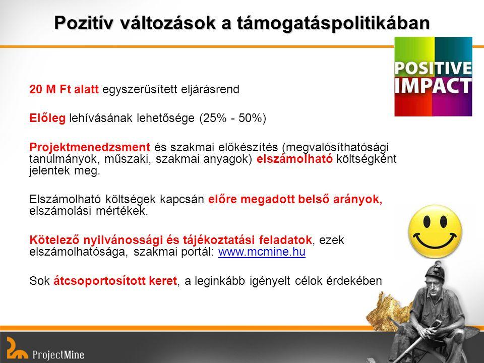 Pozitív változások a támogatáspolitikában 20 M Ft alatt egyszerűsített eljárásrend Előleg lehívásának lehetősége (25% - 50%) Projektmenedzsment és sza
